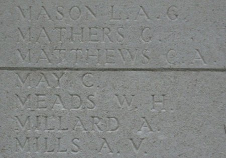 Charles May on the Tyne Cot Memorial, Ypres
