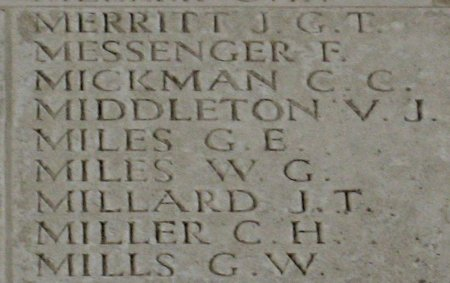 George Miles on the Thiepval Memorial, Somme