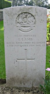 Isaac Lamb at Fauquissart Military Cemetery, Ypres