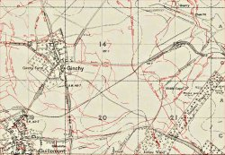 Trench map showing Ginchy and Guillemont in September 1916