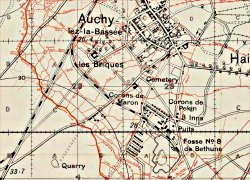 Trench map showing the Hohenzollern Redoubt and North to Auchy, December 1915
