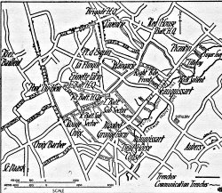 Map of Laventie showing the Fauquissart Sector in 1916, from 'The Story of the 2/5th Gloucestershire Regiment 1914-1918'